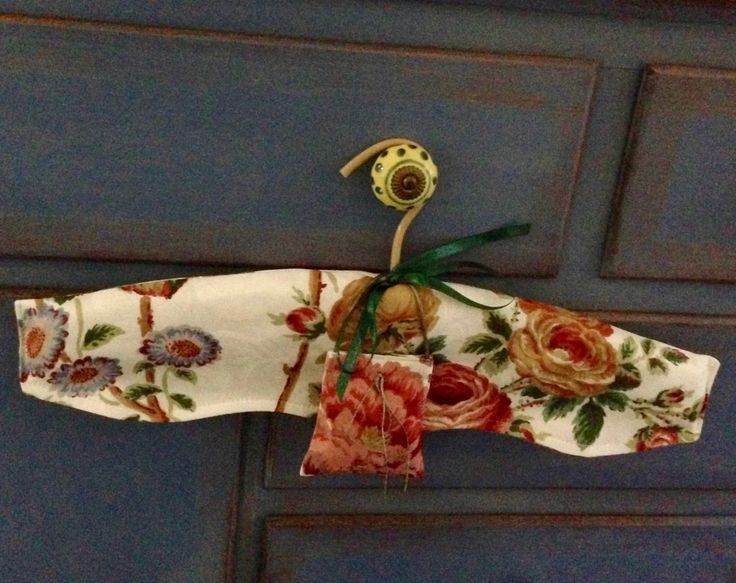 Coat Hanger... French Style with Shaped Fabric Cover by Garnetfleuri on Etsy