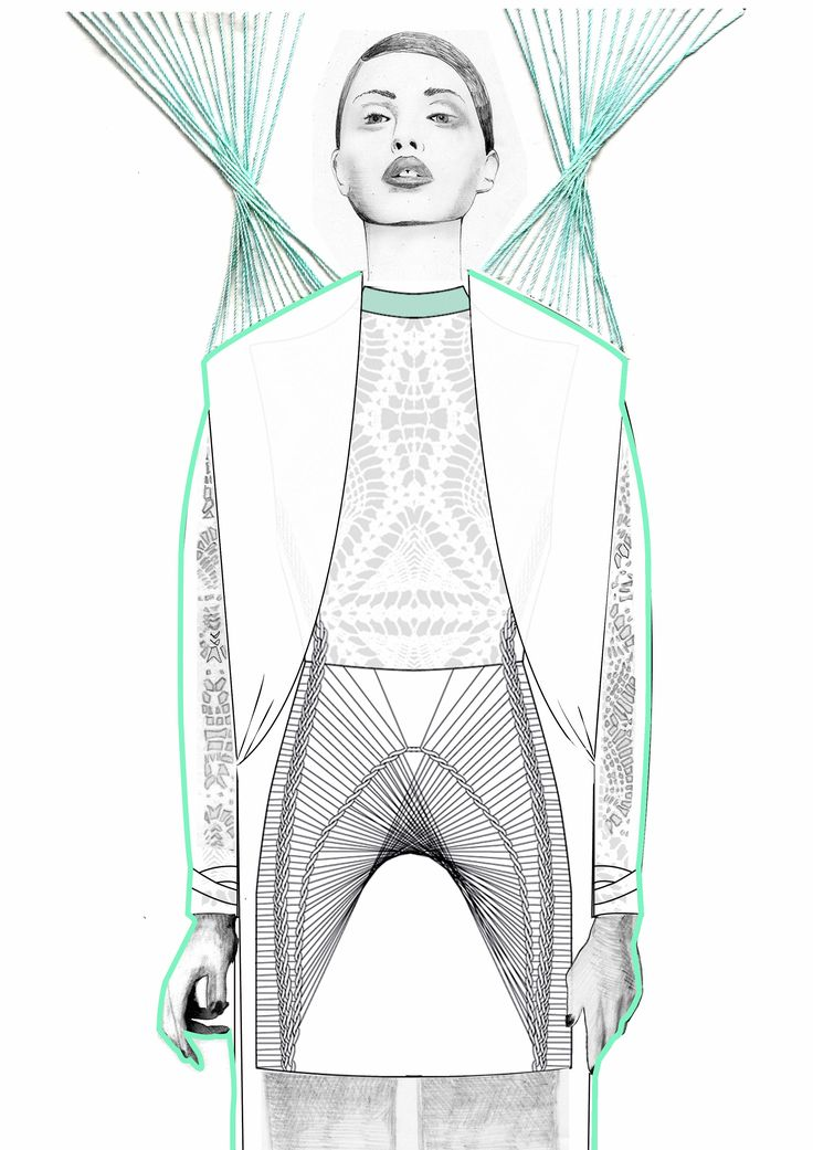 Fashion illustration - contemporary fashion drawing // student work, University of Westminster