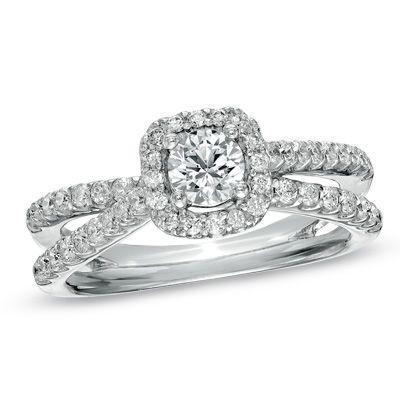 1 CT. T.W. Diamond Frame Split Shank Ring in 14K White Gold