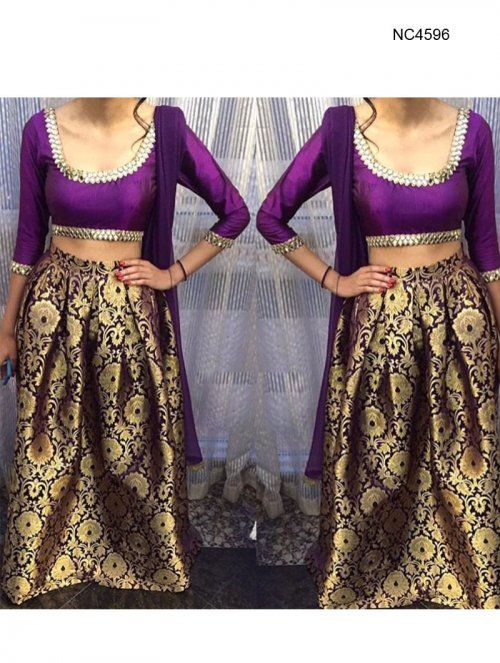 Purple Brocade & Raw Silk Bollywood Lehenga Choli