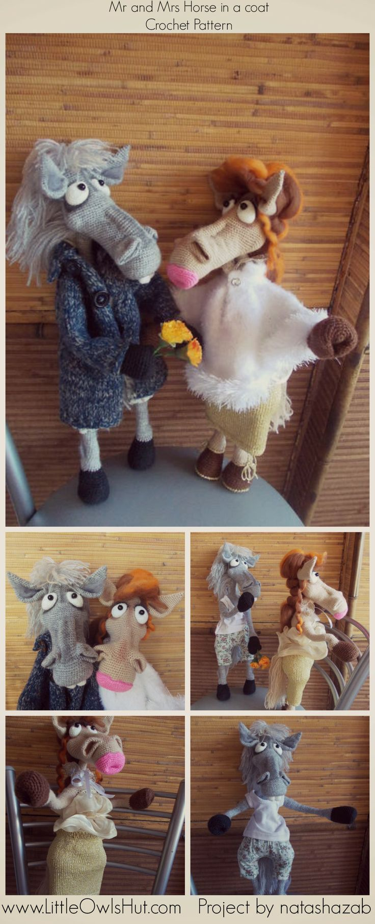"""Mr and Mrs Horse in a coat Crochet Pattern www.LittleOwlsHut.com  Project Mr and Mrs horse. """"Mr and Mrs horse"""" crochet pattern designed by Astashova for LittleOwlsHut was used to make this toy. Pattern is for an experienced crocheters. Coat is KNITTed not crochet. Toy has a wire frame inside but can't stand on its own. Look at our other horse projects pins for Ideas how to decorate you lovely toy. #LittleOwlsHut, #Amigurumi, #Astashova, #CrochetPattern, #Horse, #DIY, #Pattern, #Toy"""