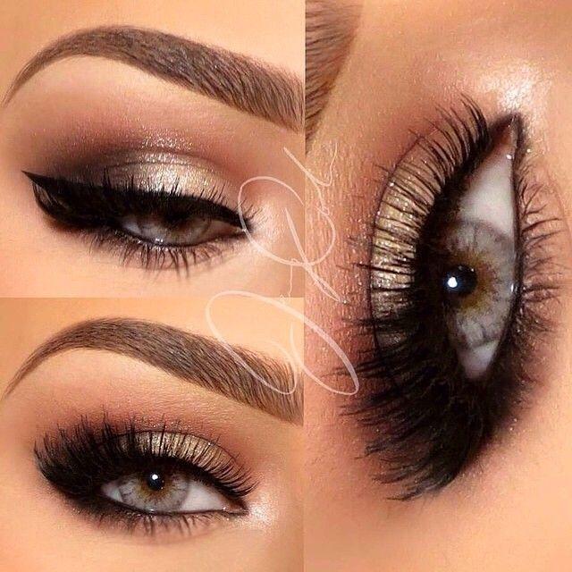 Light but bold shimmery eye makeup for light eyes with a bold angular brow