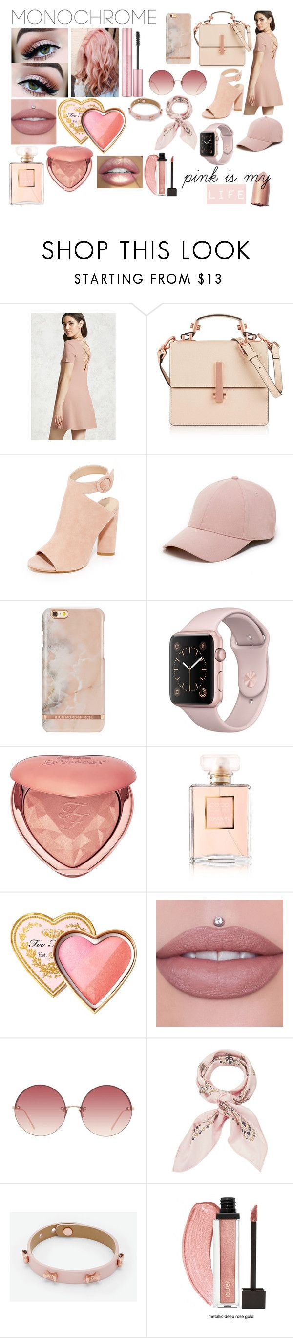 """pink is my life"" by valen200329 on Polyvore featuring moda, Forever 21, Kendall + Kylie, Sole Society, Too Faced Cosmetics, Chanel, Masquerade, Linda Farrow, Manipuri y Ted Baker"