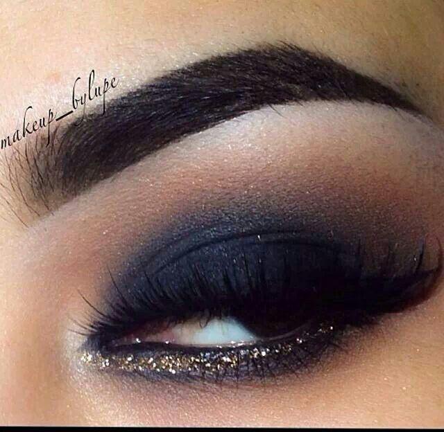Navy Eyeshadow Gold Eyeliner Make Up Ideas Pinterest