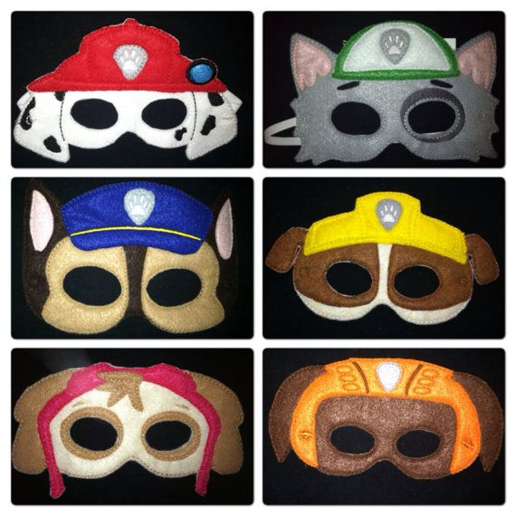 Dress up fun for your little rescuer! Complete set of 7 (seven) Paw Patrol themed masks includes: Fire Dalmatian Marshall Police dog German