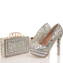2017 Nova designer De Cristal AB Casamento Sapatos Combinando com Saco Nupcial Bonito Vestido de Baile Sapatos de Festa Sapatos De Salto Alto com Embreagem alishoppbrasil
