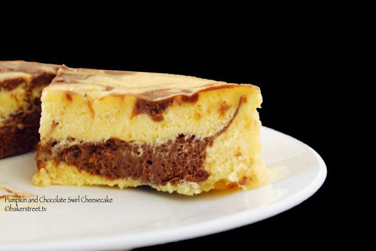 Pumpkin and Chocolate Swirl Cheesecake