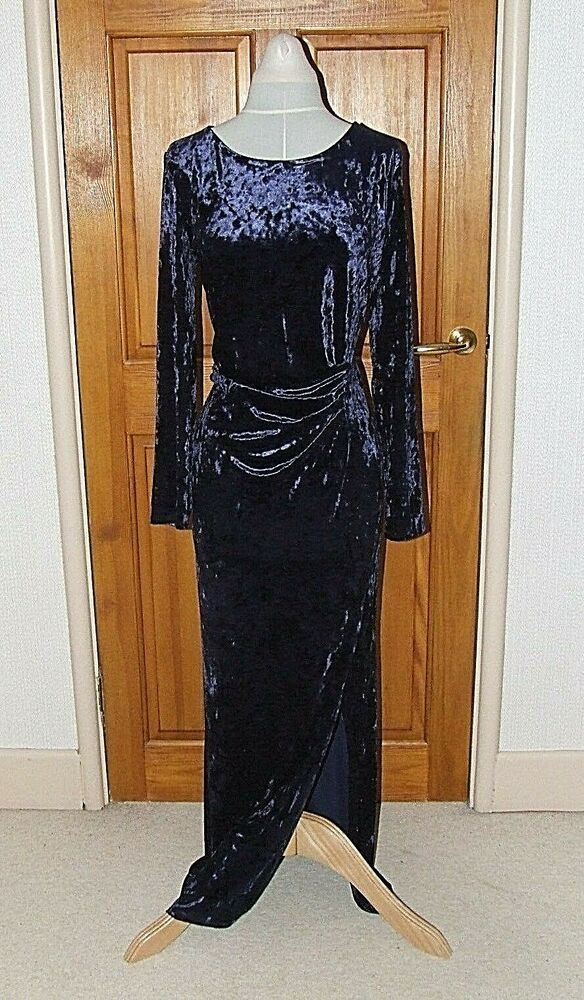 Wallis Crushed Velvet Velour Evening Occasion Party Maxi Dress Uk14 16 Bnwt Fashion Clothing Shoes Accessorie Maxi Dress Party Maxi Dress Black Maxi Dress