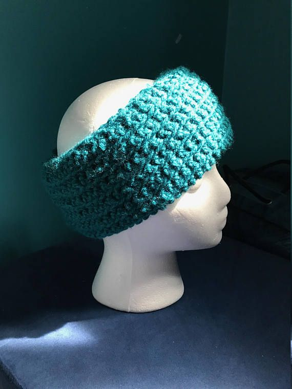 Crocheted teal ear warmer- extra thick