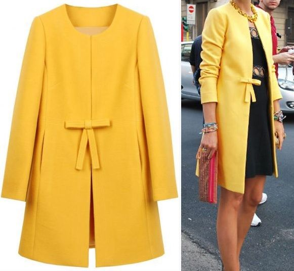 Yellow Bowknot Front H-line Simple Wool Blend Coat