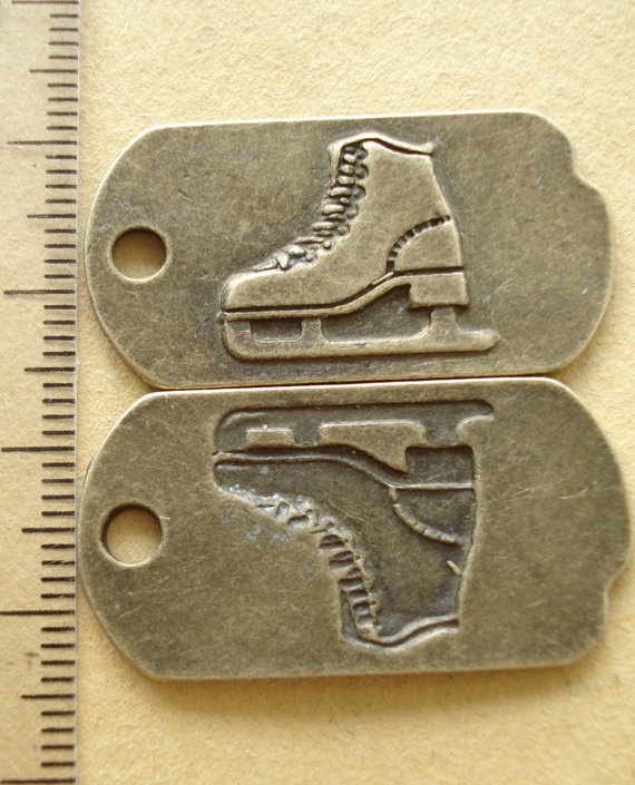 2pcs SKATE PLATE Antiqued Bronze/ Charms Pendant/ by yooounique