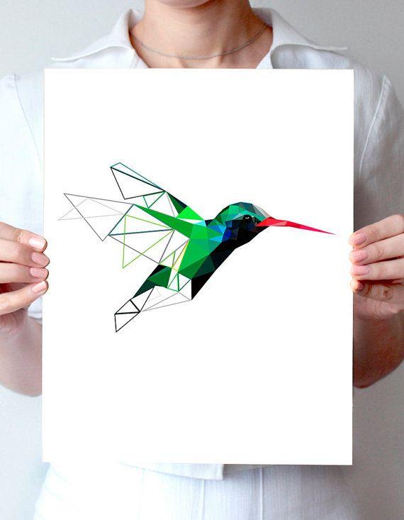 B44 - Colibri Digital art mur imprimé géométrique inspiré.  ESTAMPES ne comprend pas les cadres ***  Toutes les oeuvres sont imprimées sur du papier