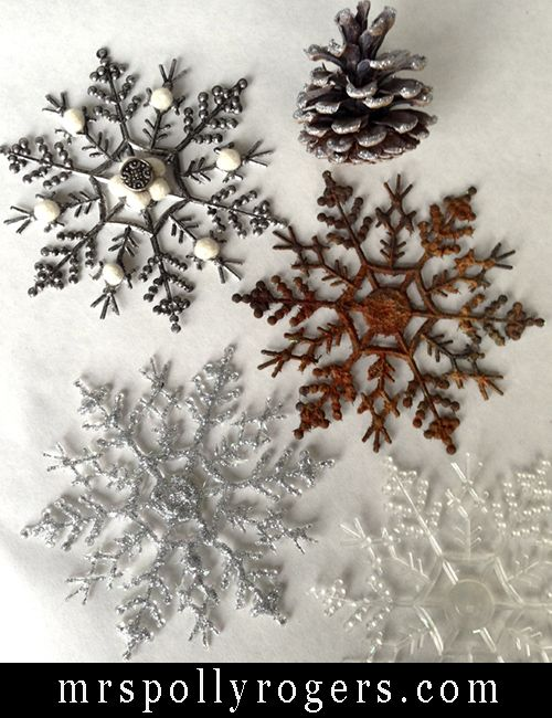 Cool rustic transformation! Upgrade Dollar Store Snowflakes