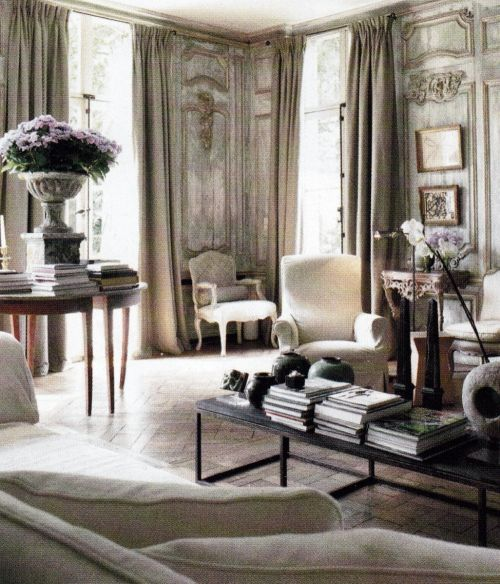 Beautiful antique paneling, pale and elegant living room