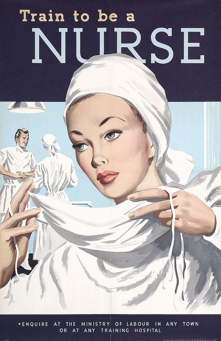 1940s British World War II Nurse Posters  Estimated Price: $240 - $400  Description: Rix. Train to be a Nurse (2 Posters). Offset ca. 1945 . Size: 29.9 x 19.2 in. (76 x 49 cm) . Printer: Waterlow & Sons, London .