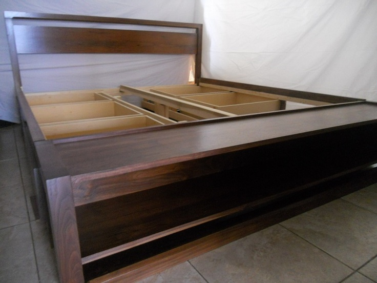 King size bed with storage, bench on foot board. Black walnut, custom made to your needs