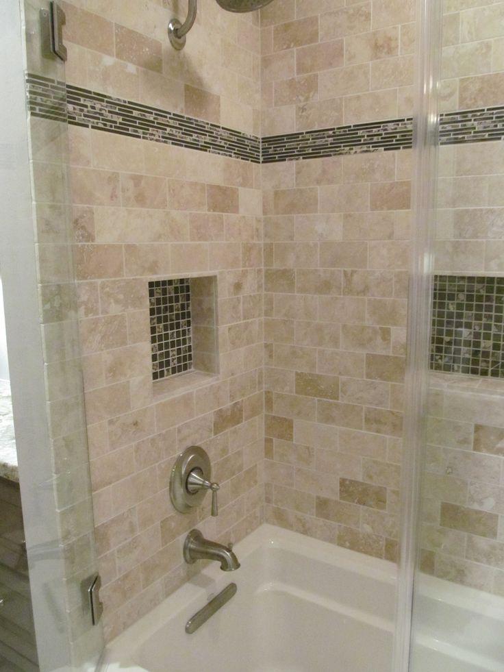 43 best bathroom ideas images on pinterest for Bathroom accent tile ideas