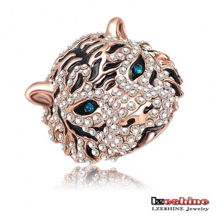 Nieuwste emaille tijger vormige punk verlovingsringen/saffier ringen met 18k rose goud plaat tsjechisch kristal mode-sieraden ri-hq0177