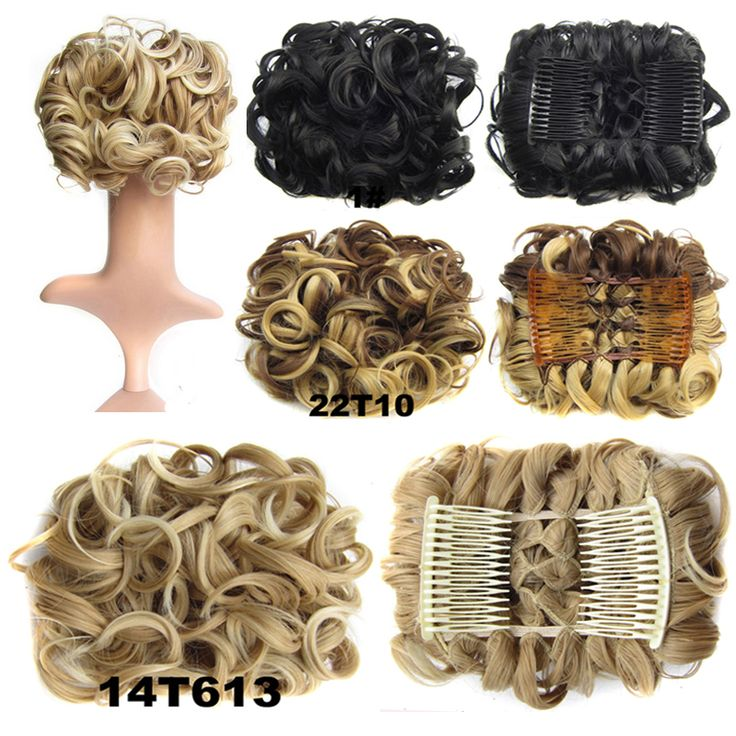 100g Wavy Curl Hair Big Bun Chignon With Two Plastic Comb Easy Clip To Hair Hairpiece Elastic Net 19 Kinds of Colours Available