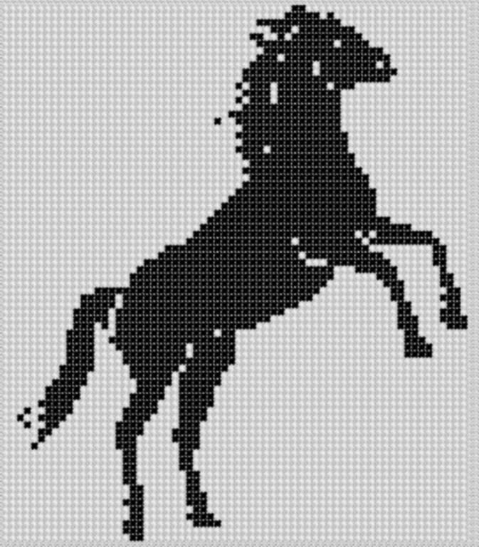 Horse Rearing 2 Cross Stitch Pattern