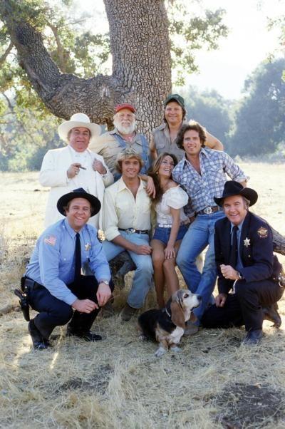Basset hound Sandy. (Back row, L-R) Sorrell Booke, Denver Pyle and Ben