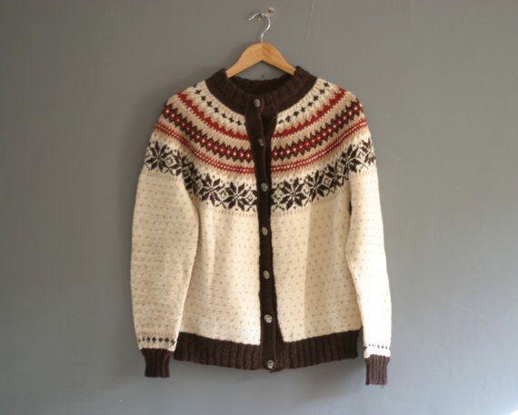Vintage Hand Knitted Nordic Ski Jumper in by VioletsAtticVintage