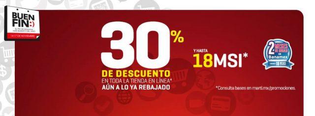 Buen Fin: 30% de descuento en toda la tienda en línea y hasta 18 MSI, en Martí. Buen Fin, del 14 al 17 noviembre de 2014. #Promo #BuenFin