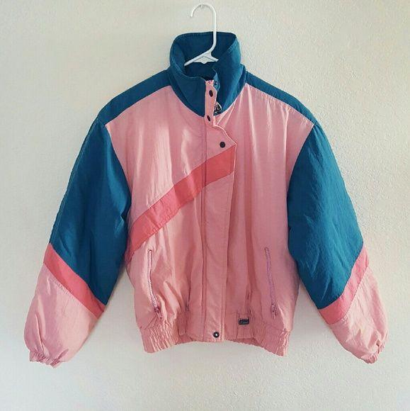 Vintage 90's Ski Jacket!! Beautiful lightweight puffer jacket in pink and blue. Lightly worn but in good condition. Very retro. Cute and comfortable. Comes from a smoke-free, pet-free home. NO TRADES :) Fast shipper! YT Sport Jackets & Coats