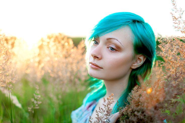 закат, солнце, девушка в поле, поле