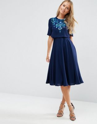 ASOS Embellished Crop Top Midi Skater Dress