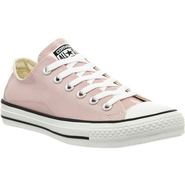 CONVERSE All star low-top metallic trainers ($81) ❤ liked on Polyvore featuring shoes, sneakers, rose pastel patent, converse shoes, lacing sneakers, patent leather sneakers, patent shoes and patent sneakers