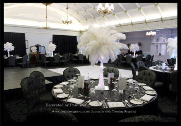 #feathertablcentres #blacksequincloths #wedding #theming available at #poshdesignsweddings - #sydneyweddings #southcoastweddings #wollongongweddings #canberraweddings #southernhighlandsweddings #campbelltownweddings #penrithweddings #bathurstweddings #illawarraweddings  All stock owned by Posh Designs Wedding & Event Supplies – lisa@poshdesigns.com.au or visit www.poshdesigns.com.au or www.facebook.com/.poshdesigns.com.au #Wedding #reception #decorations #Outdoor #ceremony decorations