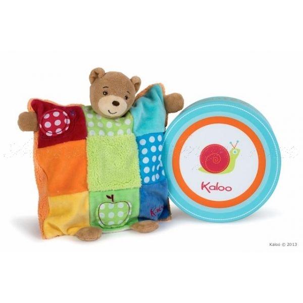 Doudou ourson marionnette patchwork - Kaloo Colors : un #doudou #Kaloo tout nouveau et tout doux à offrir ou à s'offrir juste pour la douceur et les beaux coloris lumineux
