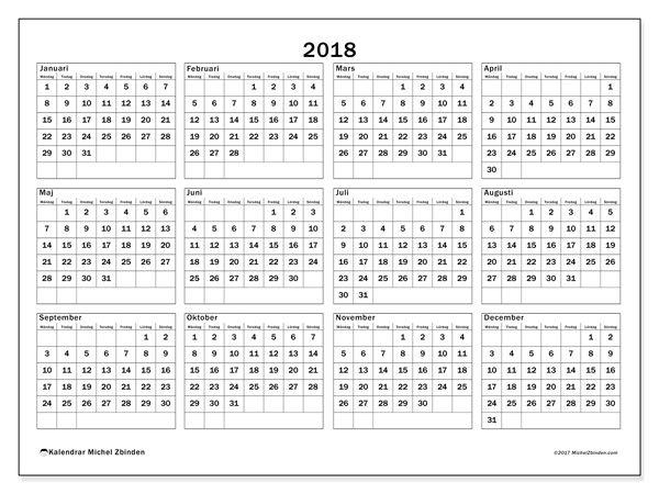 Kalender för att skriva ut  2018 - Romulus
