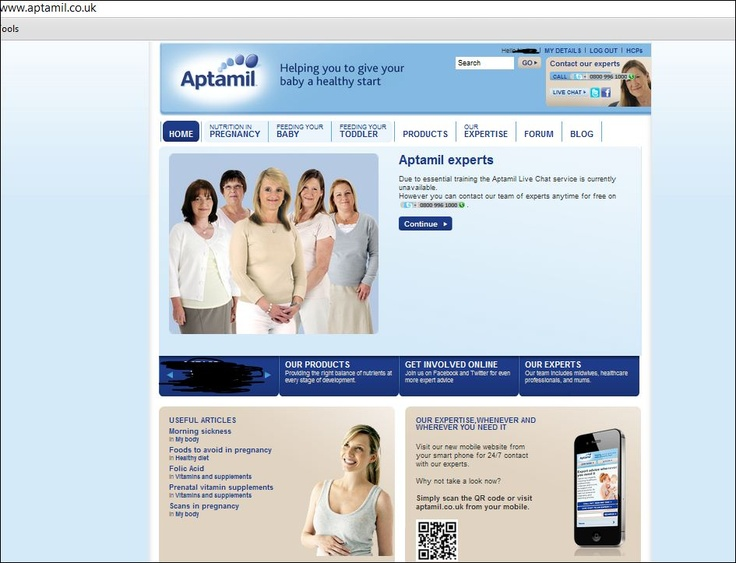 Danone's Product Page for Moms-to-Be Aptamil ranges - focus point of the site offering: Personalised accounts with customised tips/recommendations & Q articles  - good branding strategy via personalised free care (theme: nutrition)