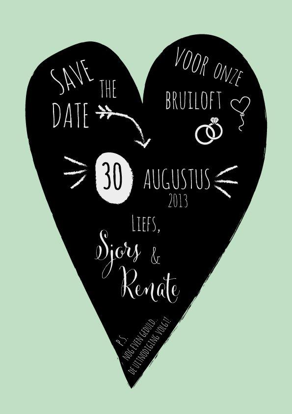 STD save the date bruiloft wedding uitnodiging invitation Krijtperk