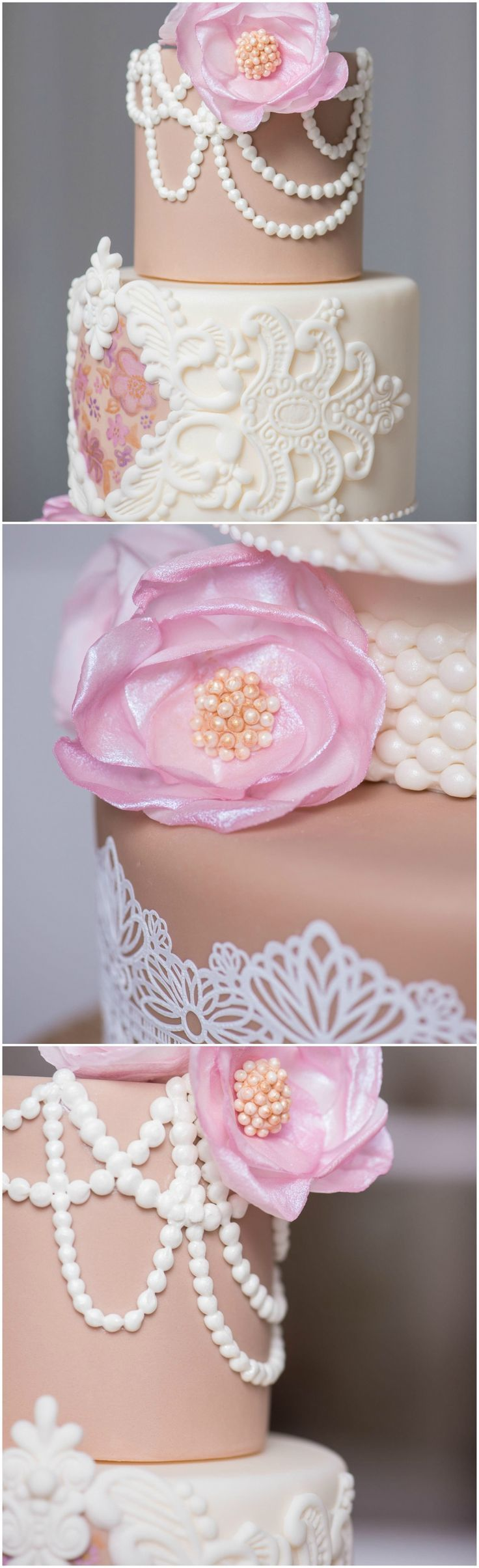 Peony And Pearls Southern Wedding Cake
