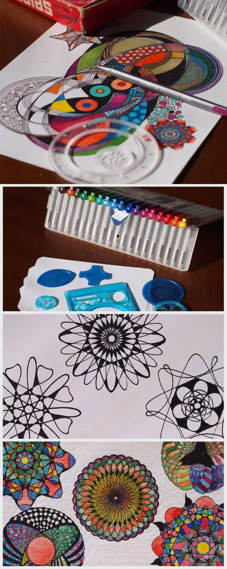 A spirograph is an easy way to make lots of cool, unique thank-you cards quickly.