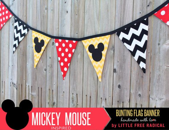 Mickey Mouse Polka Dot & Chevron Fabric Pennant Bunting Banner - READY TO SHIP - great for party decor, nursery, playroom, photo prop on Etsy, $30.00