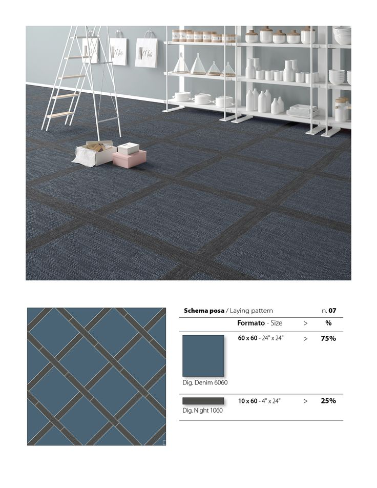 This dark checkered floor tile pattern is using our award-winning Digital Art series, featuring the Denim and Night colours.