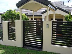 Pedestrian Gate with a roofing Brisbane Automatic Gate Systems