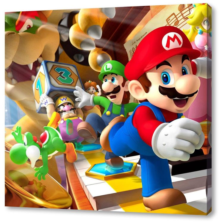 Schön Super Mario Format: 70x70cm, Leinwandbild Auf Holzrahmen Gespannt,  Leinwandbild, 1A Qualität Zu