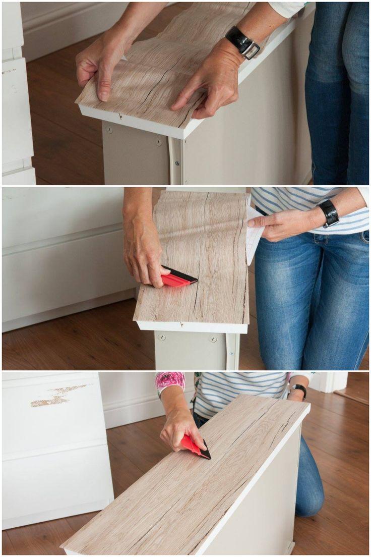 DIY: Oppgrader kommoden med kontaktplast ✨ Se steg for steg guide på bloggen  #kontaktplast #diy #ikeahack