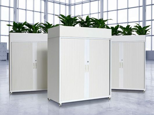 Powdercoated steel or laminate storage cabinates, Ideal as a space divider while adding some plants inside the office!