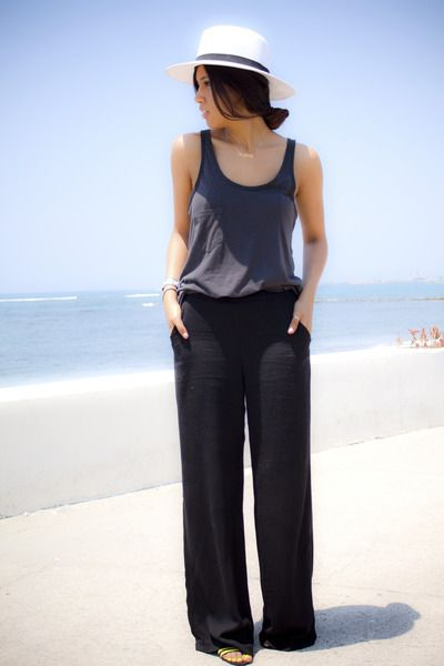 grey tank with black linen trousers