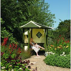 Rowlinson Haven Corner Slatted Arbour - 2550 x 1730 mm | Wickes.co.uk