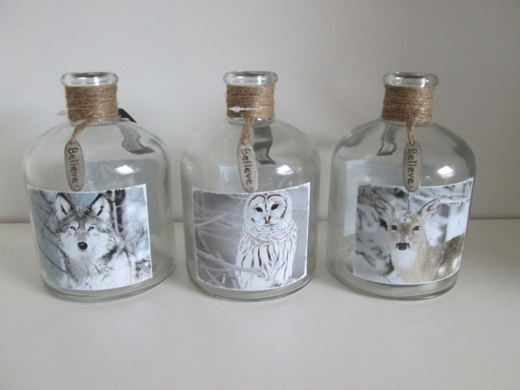 Fles bol. Glas, wolf, hert of uil, 15.5 cm  www.hkhomecollection.nl