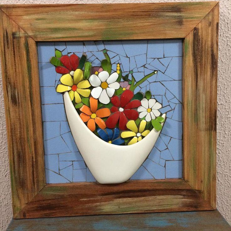 Vaso branco - Mosaic