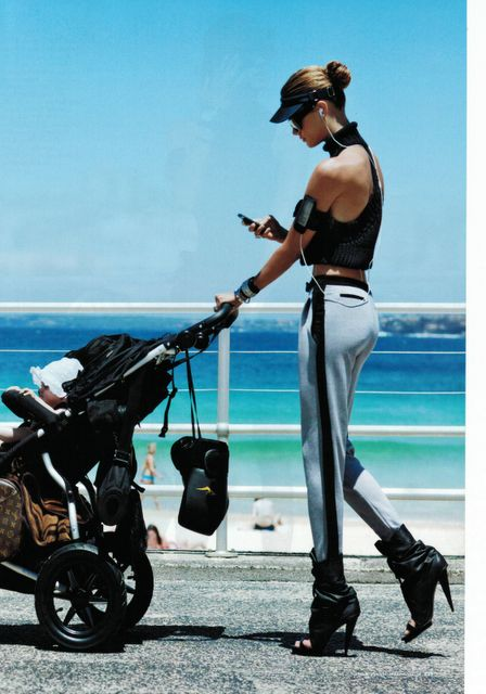 Let's face it, she's the nanny! via -Sporty Style From Boot Camp to Beach in an instant! Now that's Active Living.