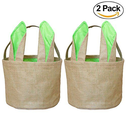 Easter Egg Baskets Bunny Basket for Kids Burlap Gift Bag Round Tote Jute Bags (2 Pack Green) FH04G
